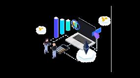 商务2.5D数据分析矢量插画
