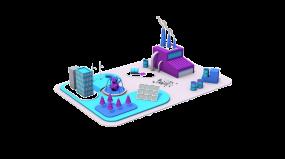 2.5D工业场景绿色能源矢量插画