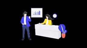 2.5d商务人士办公室数据沟通插画素材