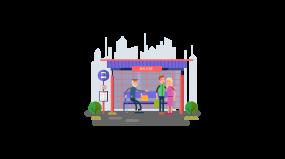 2.5d公交车站商务人士bus站牌路边等车素材