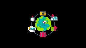 地球旅行飞机航行全球购物2.5d插画场景