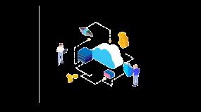 云服务安全交易数据分析2.5d插画