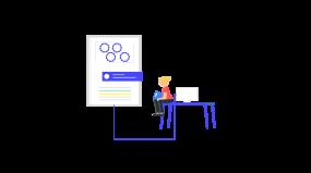 创意会议室数据分析思考插画2.5d素材