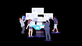 多人汇报商务群体投影数据分析2.5d