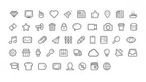 简约线条型Icon小图标 PPT图标素材下载