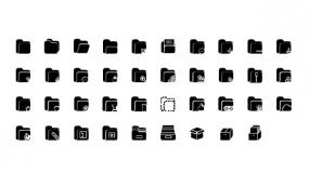 一组文件夹矢量Icon小图标 PPT直接使用