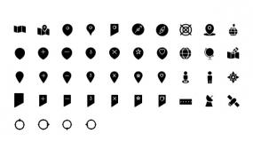 地图定位小图标 各种状态Icon小图标PPT素材