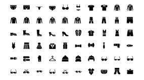 各种服饰小图标 衣服鞋包眼镜装饰 PPT图标下载