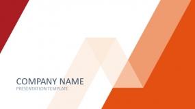 简单色块设计红橙色 简约商务PPT汇报模板下载