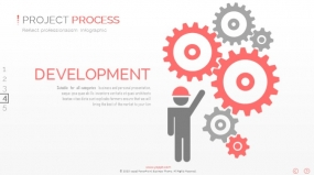PPT图表设置流程相关创意图表多齿轮小人图表