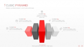 PPT关系图表方块3D并列重点突出型创意图表素材