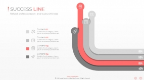 PPT关系图表线条曲线流程图4层观点创意图表素材