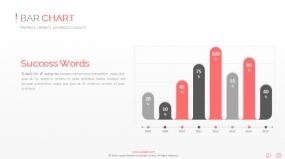 PPT关系图表创意红色柱形图数据图表素材