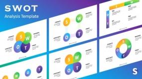 多彩SWOT模型分析工具PPT图表下载