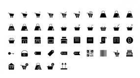 【电商购物】PPT矢量Icon小图标下载购物车购物袋折扣标签二维码商店订单便签小图标素材