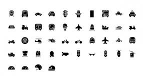 【交通工具】PPT矢量小图标-火车铁路-汽车轿车-飞机-拖拉机-出租车-游轮-公共汽车-直升机-摩托车-游艇-头盔-电动车-降落伞