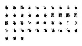 【各种手势图标】PPT格式-点击手势-点赞-拉大放小手势-ok手势-滑屏手势等矢量Icon素材