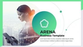 【简约派】浅色背景绿色 线条创意工作业务汇报免费PPT模板下载