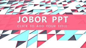 一套三角形几何方块元素的多彩PPT模板