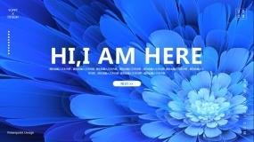 一套非常好看的蓝色花朵花纹PPT模板
