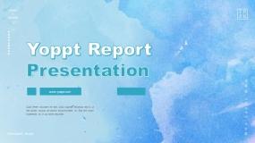 【26页】一套蓝色水彩油墨特效的免费PPT模板