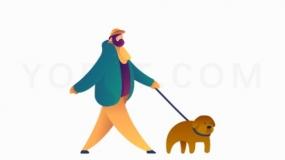 牵着狗的人PNG格式