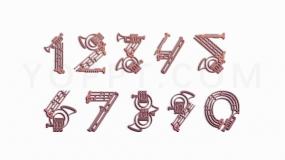 金属音乐器材机械特效0-9数字序号透明图