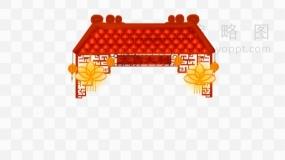 新年红色建筑屋檐免费下载png