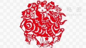 红色福娃骑着牛剪纸透明图片
