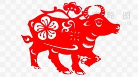 红色生肖牛剪纸透明