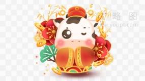 卡通喜庆十足奶牛png图片