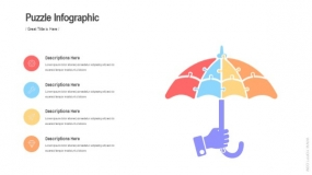 拼图伞状 手持雨伞图案 PPT图表