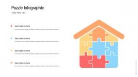 拼图房子建筑图案 稳定性结构模型PPT图表