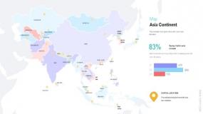 亚洲平面地图矢量效果图案
