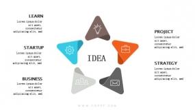 5个创意小三角箭头组成五角星