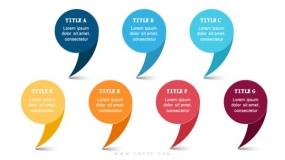 7个彩色逗号气泡样式图表
