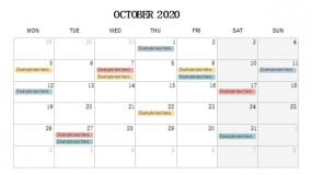 2020年10月份旅行计划安排PPT设计