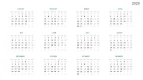 2020年全年按月日历表PPT图表
