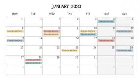 2020年1月份工作待办安排PPT设计