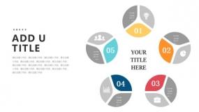 5个创意饼图组成五边形设计