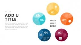 5个彩色明亮圆形图案PPT图表