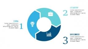 3个简约蓝色设计PPT循环图表