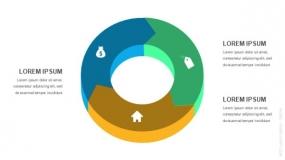 3D立体3段弧形圆圈循环图形PPT图表-1