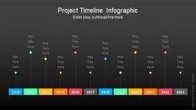 深色背景项目时间轴信息图PPT图表-106
