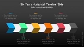 深色背景六年水平时间轴幻灯片PPT图表-133