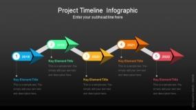 深色背景项目时间轴信息图PPT图表-165