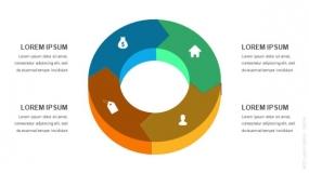 3D立体4段弧形圆圈循环图形PPT图表-2