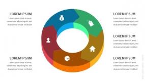 3D立体5段弧形圆圈循环图形PPT图表-3