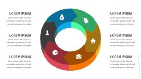 3D立体6段弧形圆圈循环图形PPT图表-4