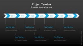 深色背景项目时间轴PPT图表-42
